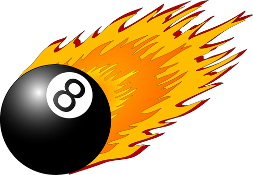 Snooker ball with flames vector