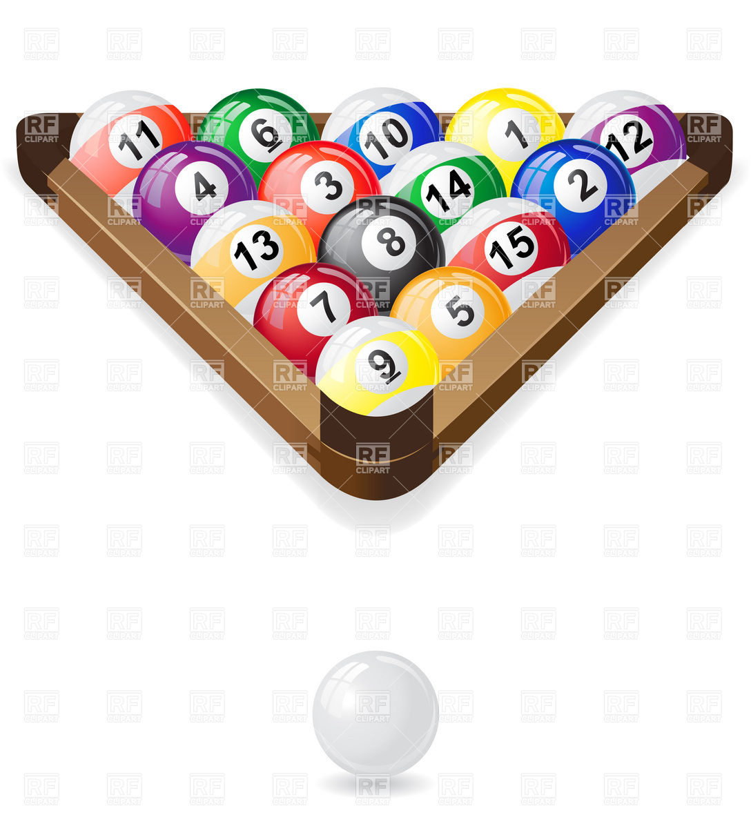 Three-cornered snooker rack setup with balls Royalty Free Vector Clip Art