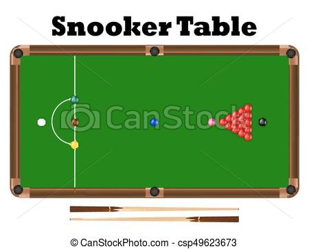 Top View Snooker Ball On Snooker Table Vector