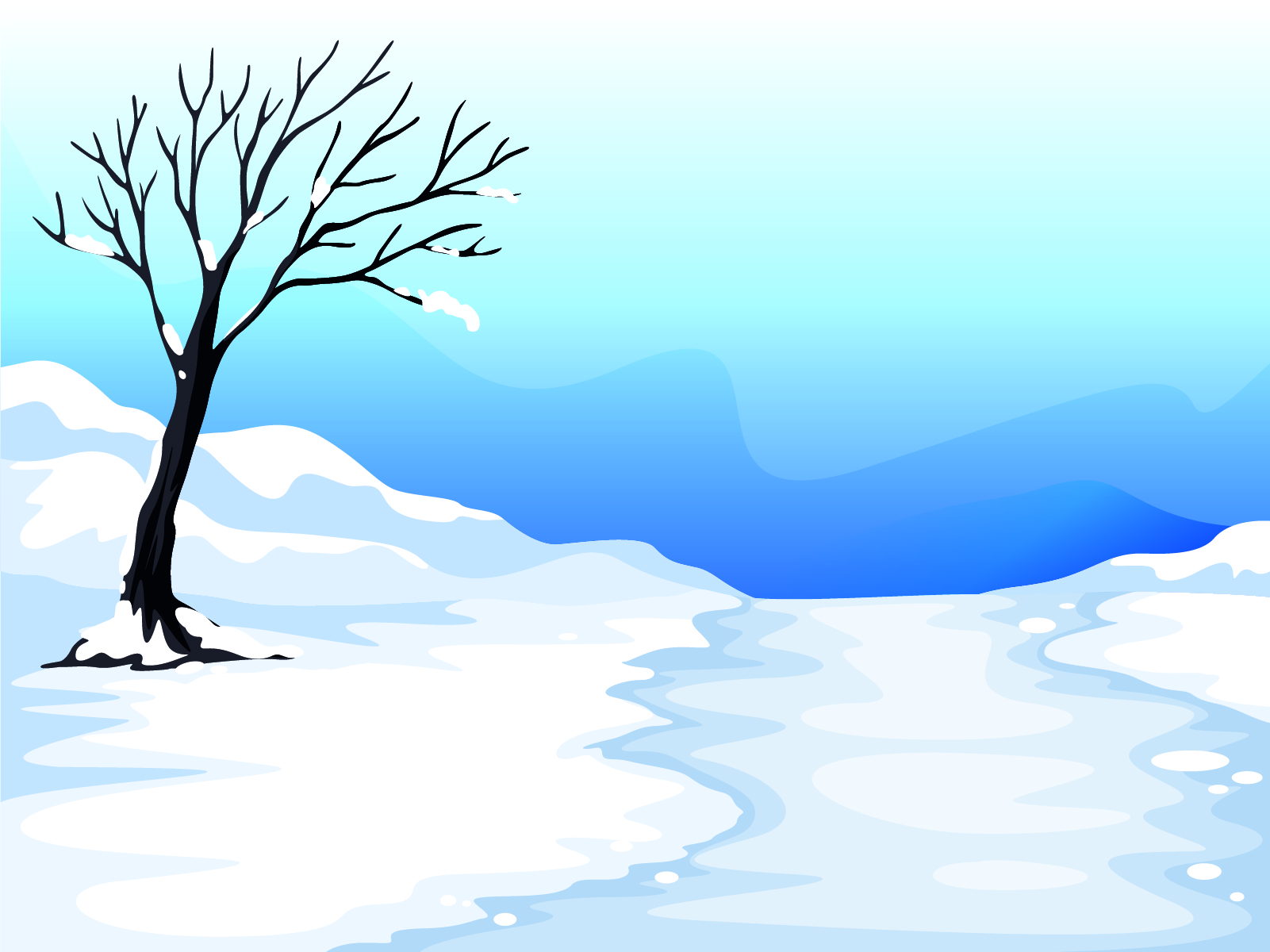 Snow And Tree Illustration Ppt Backgrounds 3d Blue Design