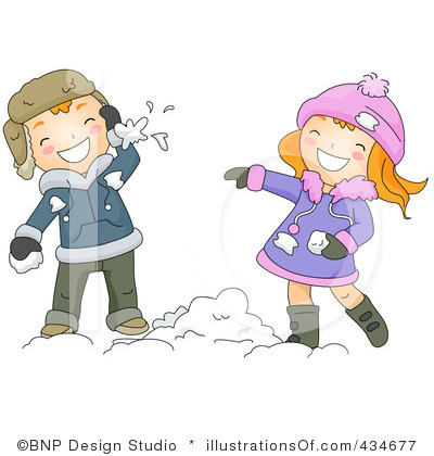 Snow Fight Clipart #1