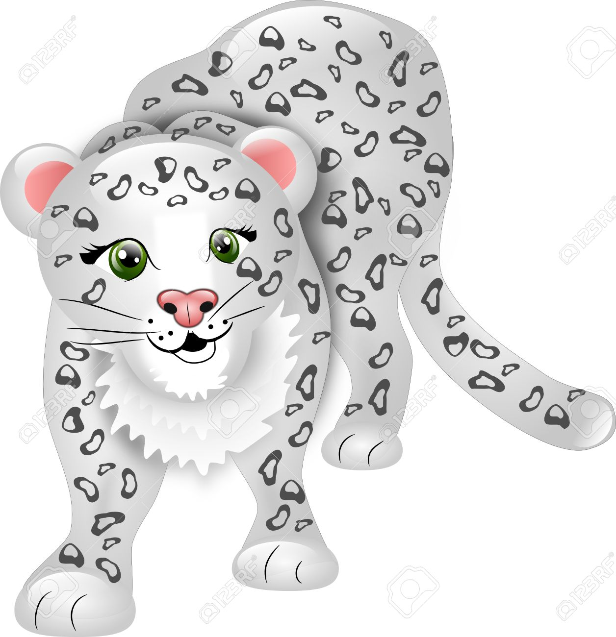 snow leopard: Cartoon snow leopard without background