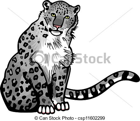... Snow Leopard - vector illustration of a snow leopard sitting