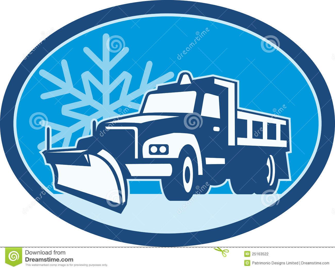 Snow Plow Truck Retro Stock .