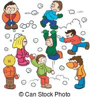 ... snowball fight cartoon illustration