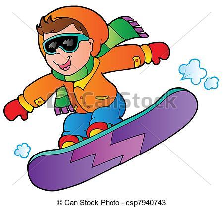 Cartoon boy on snowboard - csp7940743