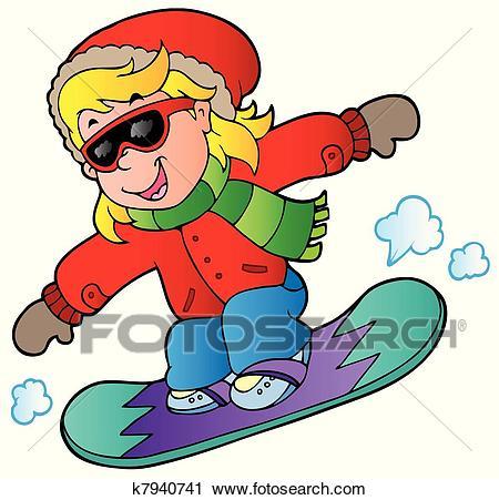 Cartoon girl on snowboard - vector illustration.
