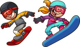 Happy snowboarding boy and girl. Happy snowboarding kids. Vector clip art  illustration with simple