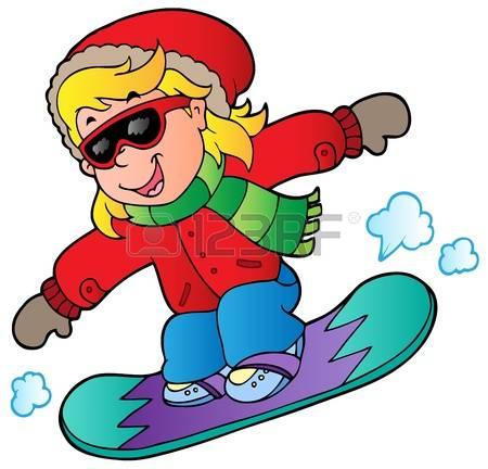 Snowboard Girl: Cartoon Girl On Snowboar-snowboard girl: Cartoon girl on snowboard illustration.-14
