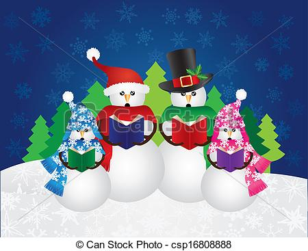 Snowman Christmas Carolers .