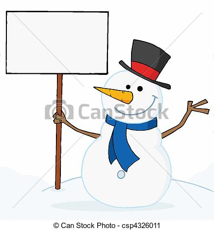 ... Snowman Holding A Blank Sign - Joyous Snowman Holding A..