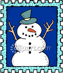 Snowman On A Postage Stamp - Royalty Free Clipart Picture