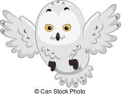 Snowy Owl Clip Artby Lenm0/3; Snowy Owl -Snowy Owl Clip Artby lenm0/3; Snowy Owl - Illustration of a Snowy Owl in  the Middle of.-17