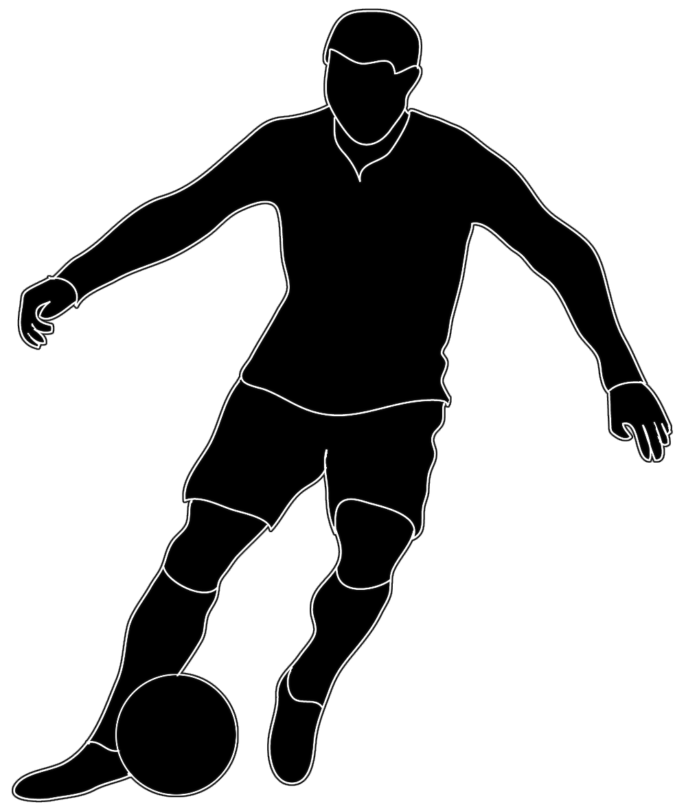 soccer player clipart black and white