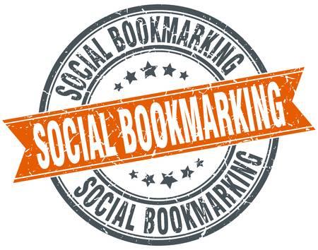 Social Bookmarking Round Grunge Ribbon S-social bookmarking round grunge ribbon stamp-14