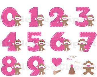 Sock Monkey Digital Clip Art, Birthday Party Digital Clip Art, Instant Download, Cute Pink Monkey Digital Clip Art, Scrapbooking
