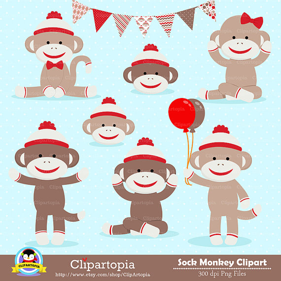 SOCK MONKEY Digital clipart, Red Monkey Clip art, Cute sock monkey Clipart for personal
