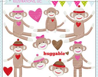 Sock Monkey Loves You Cute Digital Clipart - Commercial Use OK - Sock Monkey Graphics, Sock Monkey Clipart