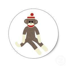Sock monkey sticker sticker