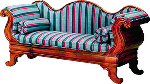sofa in wood and fabric - Sofa Clipart