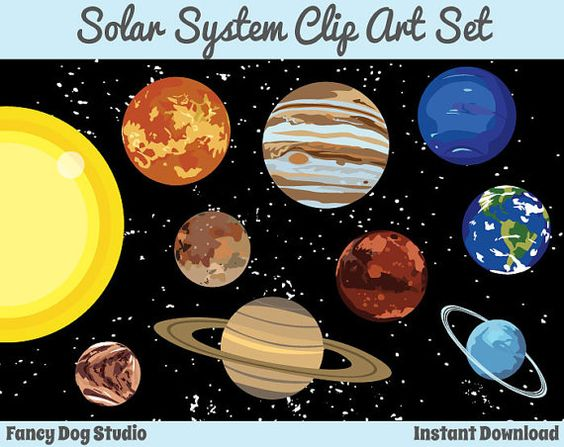 Solar System Art Outer Space Clipart Instant Digital Download Images Educational Clipart Space Clip Art