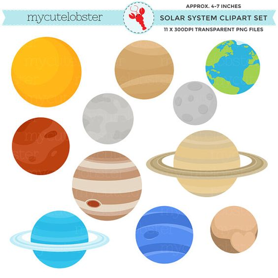 Solar System Clipart Set - clip art of the planets, Earth, moon, sun