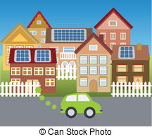 ... Solar town - Town powered with solar energy Solar town Clip Artby ...