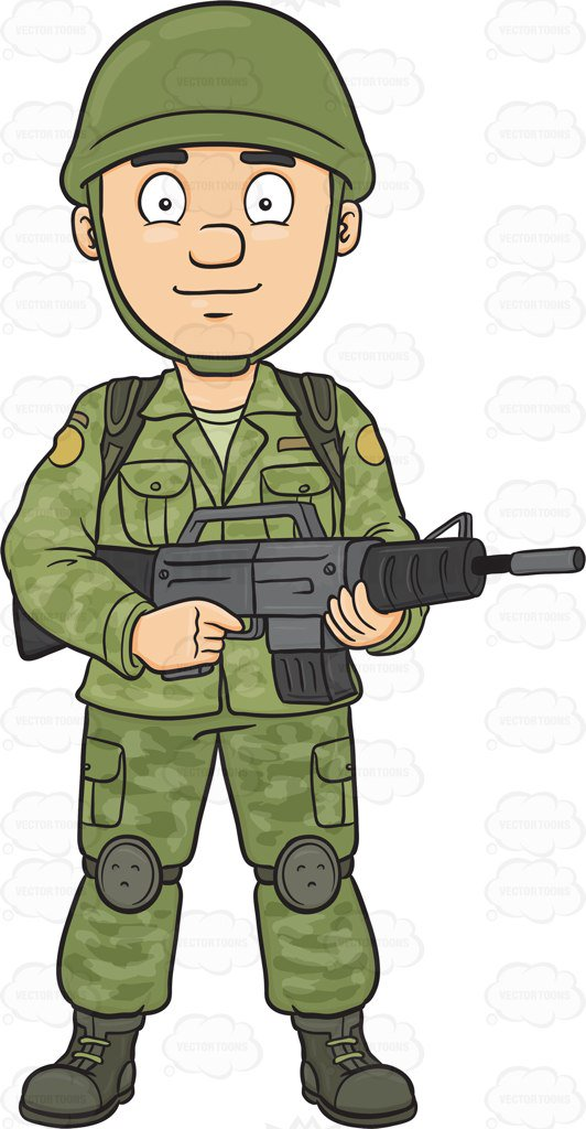 A Brave And Proud Soldier Holding A Machine Gun