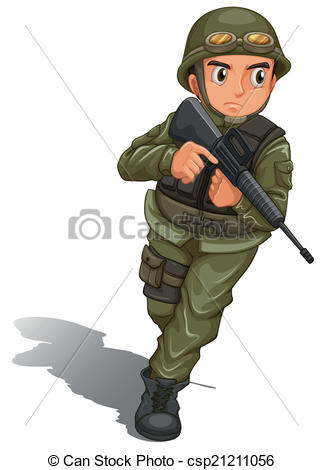 A brave soldier fighting - csp21211056