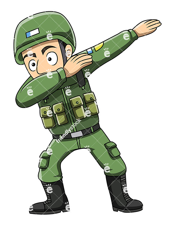 A Dabbing Soldier - Cartoon Character