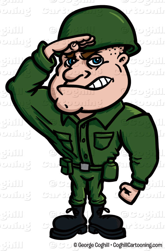 Soldier cartoon character clip art stock illustration by George Coghill.