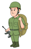 Soldier With Backpack Rifle C - Clip Art Soldier
