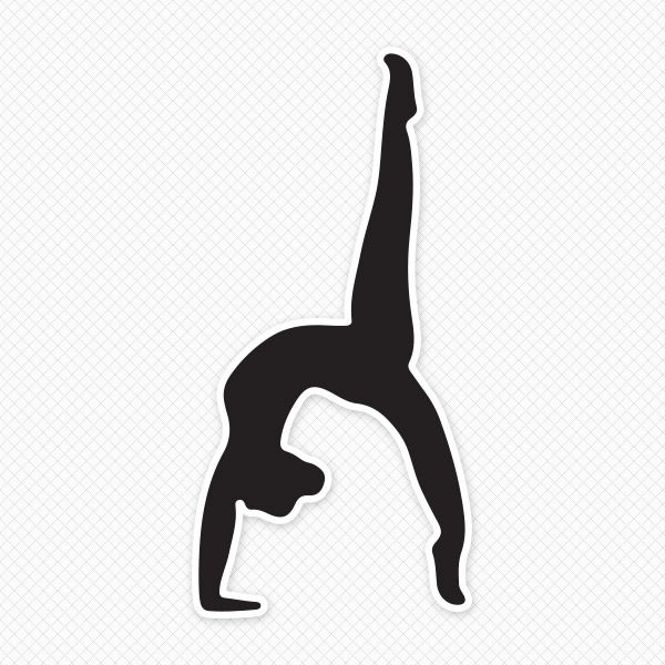 Solid Black Gymnast Silhouette Sticker-Solid Black Gymnast Silhouette Sticker-17