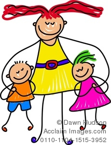 Son And Daughter Cuddling Up To Their Mommy Clip Art Picture Acclaim