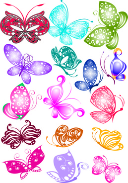 sorts of butterflies clip art vector