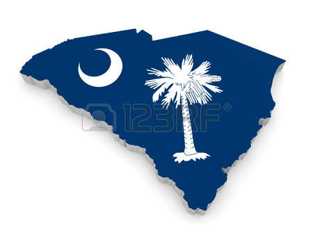 south carolina: Geographic border map and flag of South Carolina, The Palmetto State Stock