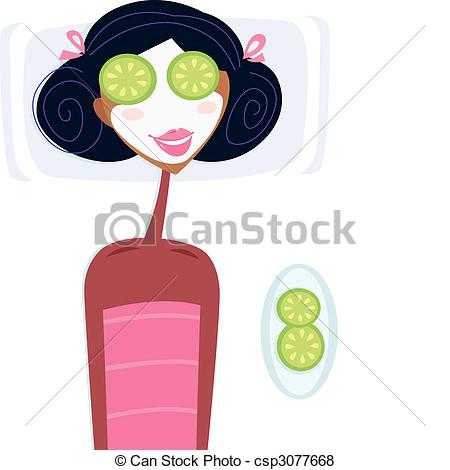 ... Spa - woman with facial mask - Illustration of woman with.