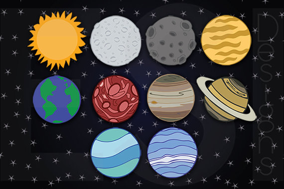 Planets Clipart, Space Clipart, Includes Space Digital Paper, Digital  Background Paper, Background, Scrapbook paper. ESIC1 from ESIdesignsdigital  on Etsy ClipartLook.com