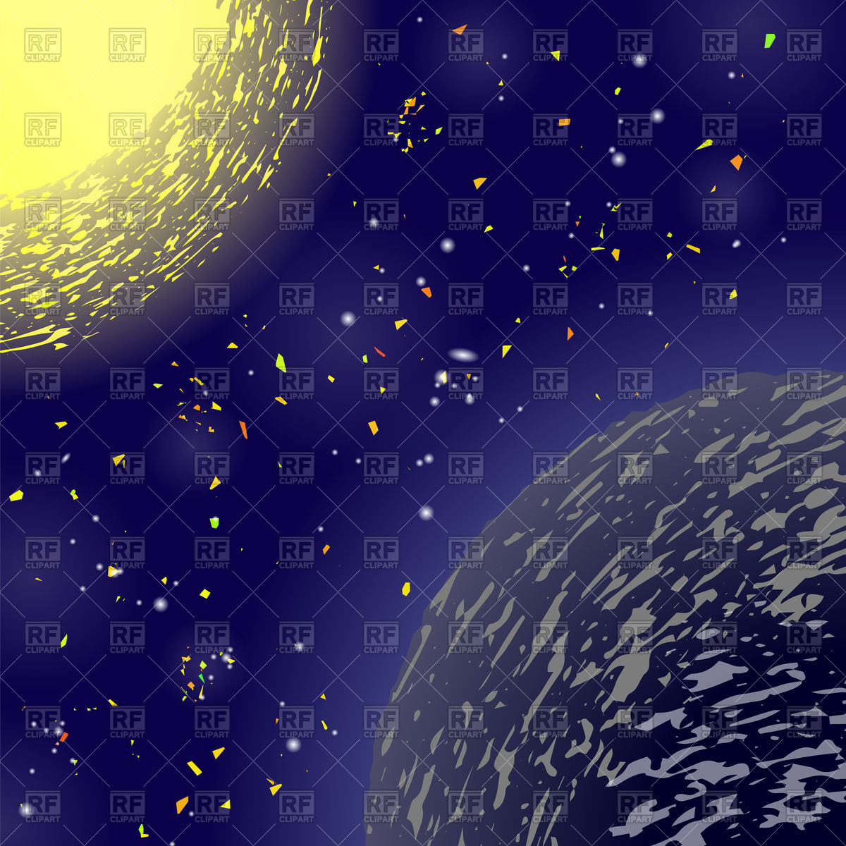 Space background with planet and sun Royalty Free Vector Clip Art