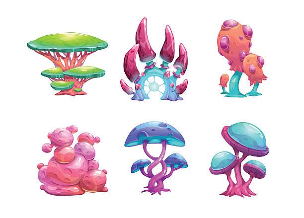 Beautiful Fantasy Mushrooms Set. Vector -Beautiful fantasy mushrooms set. vector art illustration-14