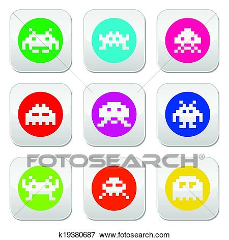 Clip Art - Space invaders, 8-bit aliens round . Fotosearch - Search Clipart