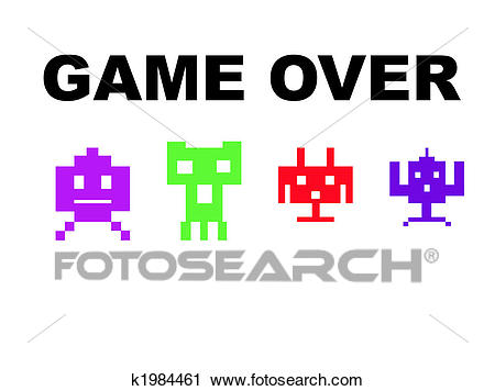 Clipart - Space invaders game over. Fotosearch - Search Clip Art,  Illustration Murals,