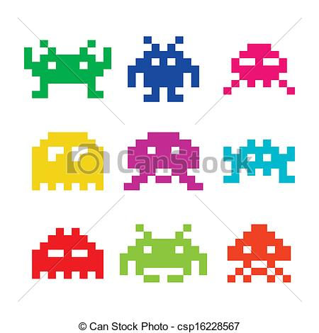 Space invaders, 8bit aliens icons - csp16228567