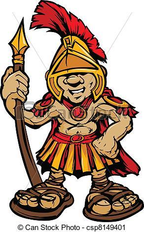 Spartan Trojan Mascot .