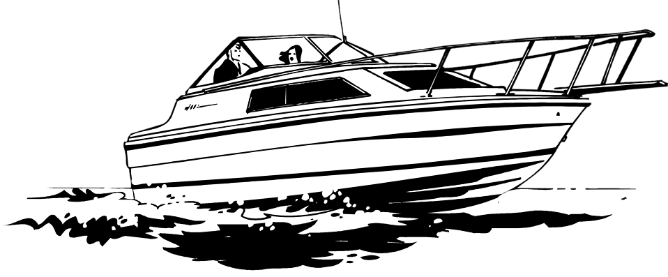 Speed Boat Black And White .