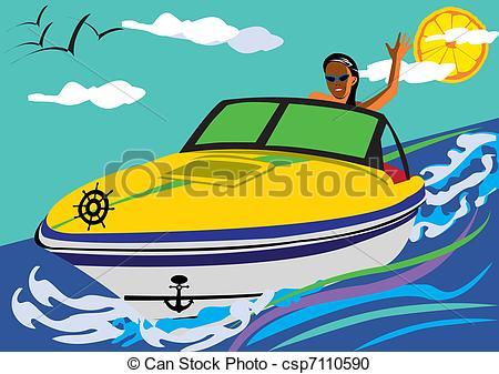 Speed Boat Stock Illustrationby redrockerz5/269; Summer pleasures -  Abstract vector illustration of a girl.