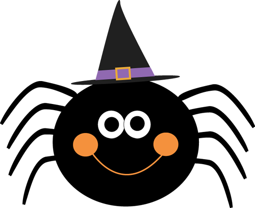 Spider Wearing Witches Hat - Halloween Clip