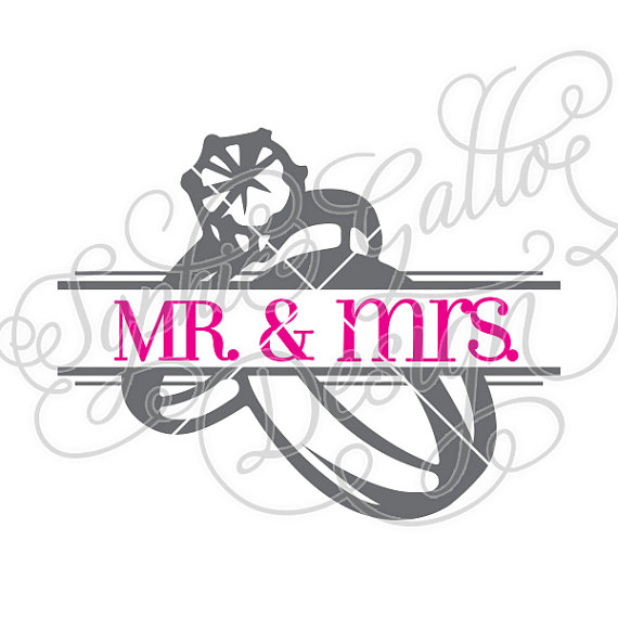 Split Mr and Mrs Rings SVG DXF digital download files for Silhouette Cricut vector clip art