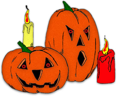 Spooky Jack-o-lanterns With Burning Cand-spooky jack-o-lanterns with burning candles-16