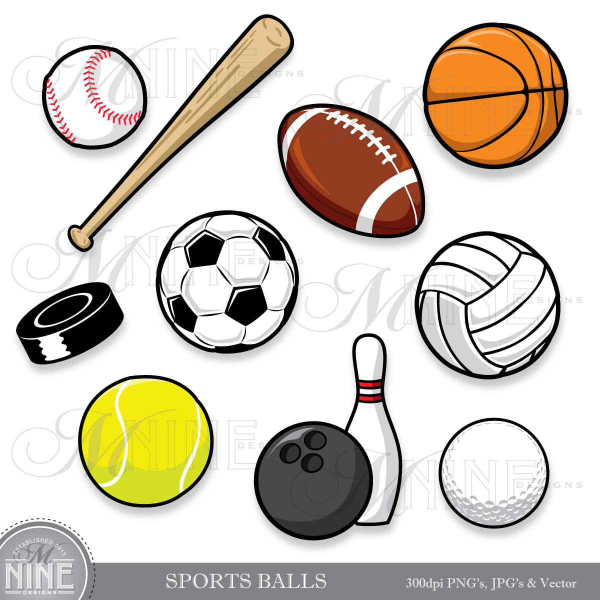 ... Sport Ball Digital Clipart Vector Art Football Soccer Baseball.